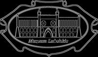 W obramowaniu przypominającym szeroką broszkę, jest rysunek przedstawiający zamek od frontu i pod nim napis Muzeum Lubelskie. Na obramowaniu broszki, nad rysunkiem zamku napis 1906.