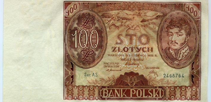 Banknot o nominale 100 złotych z wizerunkiem księcia Józefa Poniatowskiego, 1934 r. – przednia strona