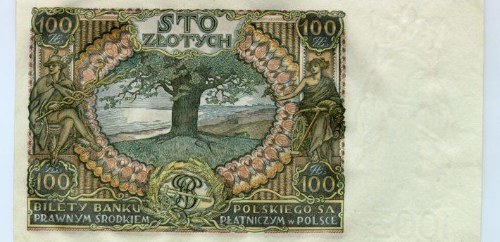 Banknot o nominale 100 złotych z wizerunkiem księcia Józefa Poniatowskiego, 1934 r. – odwrotna strona