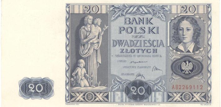 Banknot o nominale 20 złotych z wizerunkiem Emilii Plater, 1936 r. – przednia strona