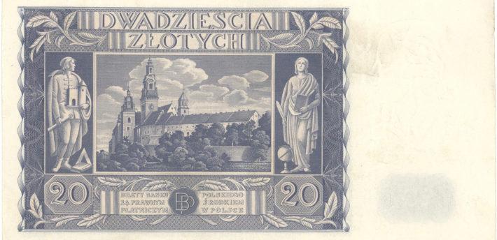 Banknot o nominale 20 złotych z wizerunkiem Emilii Plater, 1936 r.  – odwrotna strona
