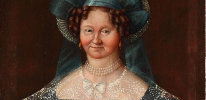 Portret kobiety w stroju biedermeier